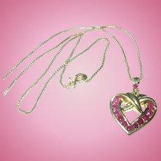 Vintage Necklace Ruby Heart Pendant