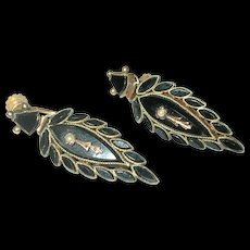 Victorain 10K French Jet Drop Earrings 1860's