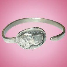 Vintage Sterling Scarf Ring Lab Dog