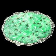 Antique Oriental Jade Brooch Sterling