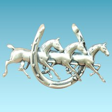 Vintage Brooch Sterling Horses Horse Shoe