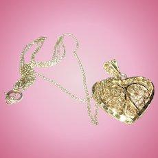 Vintage Necklace Pendant Sterling Vermeil Filigree