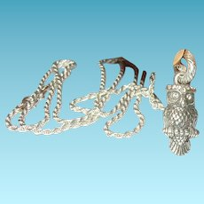 Vintage Necklace Pendant Sterling Owl