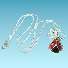 Vintage Necklace Pendant Enamel Lady Bug