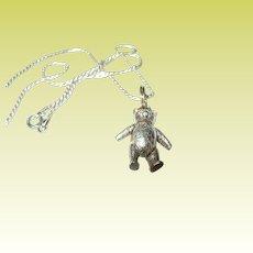 Vintage Necklace Pendant Sterling Teddy Bear