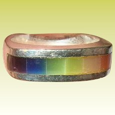 Vintage Ring Sterling Rainbow