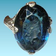 Art Deco 10K Ring Intaglio Blue Stone Filigree Work