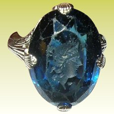 Art Deco 10K Ring Intaglio Blue Stone Filigree Work
