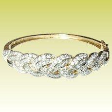 Vintage Hinged Bangle Faux Diamonds