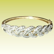 Vintage Hinged Bangle Faux Diamonds