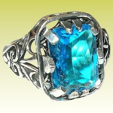 Vintage Ring Sterling Faux Blue Stone