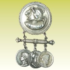 Vintage Sterling Brooch Roman Coins
