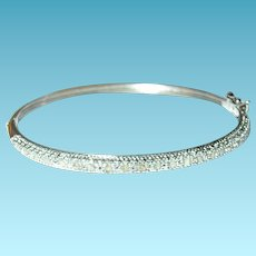 Vintage Hinged Bangle Sterling Diamonds