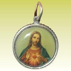 Vintage Pendant Sterling Sacred Heart Jesus