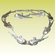 Vintage Taxco Necklace Earring Set Bird Design