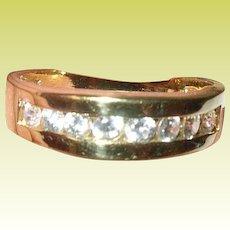 Vintage Ring Sterling Vermeil Faux Diamonds