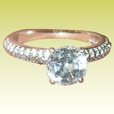 Vintage Ring Sterling Faux Diamonds