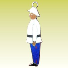 Vintage Enameled Charm Officer