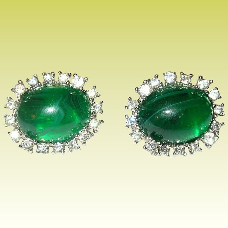 Vintage Earrings Faux Emerald Diamonds By Marvella