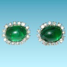 Vintage Earrings Faux Emerald Faux Diamonds by Marvella