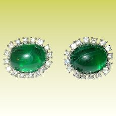 Vintage Earrings Faux Emerald Faux Diamonds by Marvella