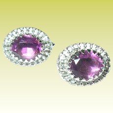Vintage Earrings Sterling Faux Amethysts