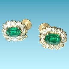 Vintage Earrings Faux Emerald Faux Diamonds