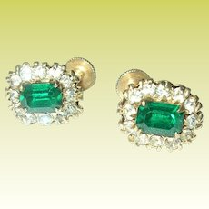 Vintage Earrings Faux Emerald Faux Diamonds