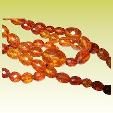 Vintage Faceted Amber Necklace