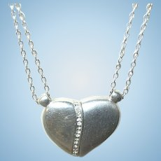Vintage Necklace Pendant Sterling Diamond heart