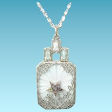 Vintage Sterling Pendant Necklace Camphor Glass