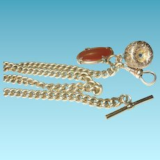 Edwardian Watch Chain 2 Fobs