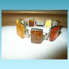 Vintage Amber Sterling Link Bracelet