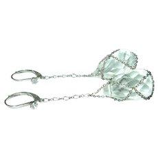 Vintage Earrings Drop Glass Crystals
