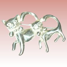 Vintage Brooch Sterling Whimsical Cats