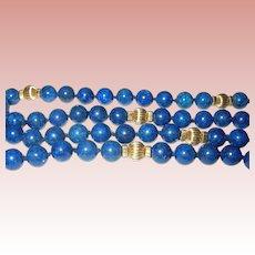 Vintage 14K Blue Lapis Necklace