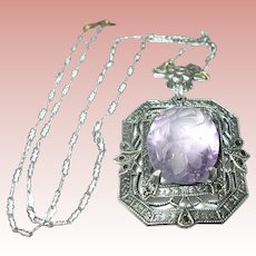 Art Deco Filigree Pendant Necklace Carved Amethyst