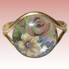 Vintage Cuff Bracelet Reverse Painting