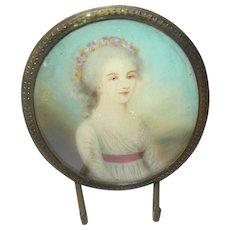 18th Century Miniature Portrait Painting Signed