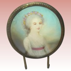 18th Century Miniature Portrait Painting Signed