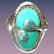Vintage Ring Sterling Turquoise Snake Effie Zuni