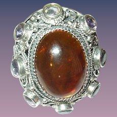 Vintage Ring Sterling Amethyst Amber