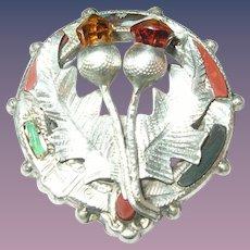 Vintage Kilt Brooch Sterling Citrines Scottish
