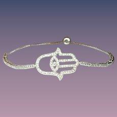 Vintage Bracelet Sterling Faux Diamonds
