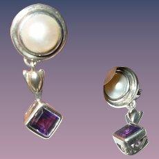 Vintage Drop Earrings Sterling Amethyst