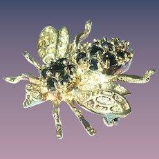 Vintage Bee Brooch Sterling Vermeil Sapphires
