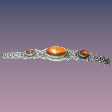 Vintage Bracelet Sterling Cabochon Amber