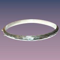 Vintage Hinged Bangle Sterling Diamond Cut