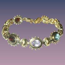 Vintage Link Bracelet Sterling Vermeil Semi-Precious Stones