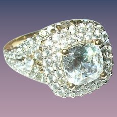 Vintage Ring Sterling/Vermeil Faux Diamonds